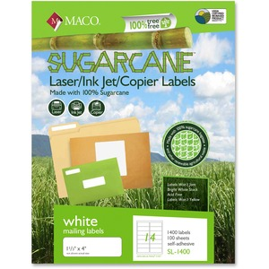 Maco Printable Sugarcane Mailing Labels MACMSL1400