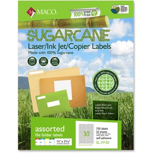 Maco Printable Sugarcane File Folder Labels MACMSLFF30
