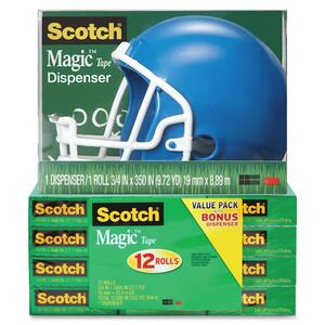 Scotch Magic Tape Helmet Dispenser Pack MMM810K12C32FBH