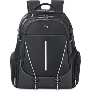 "Solo Active Carrying Case (Backpack) for 17.3"" Notebook - Black, White USLACV7004"