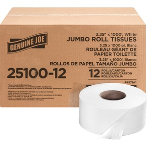 Genuine Joe 2-ply Jumbo Roll Dispensor Bath Tissue GJO2510012