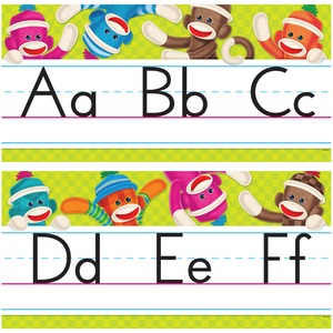 Trend Sock Monkeys Alphabet Line Standard Manuscript Bulletin Board Set TEPT8415