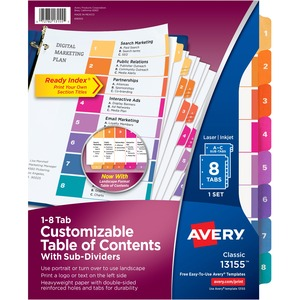 avery ready index customizable table of contents dividers with sub dividing tabs ave13155