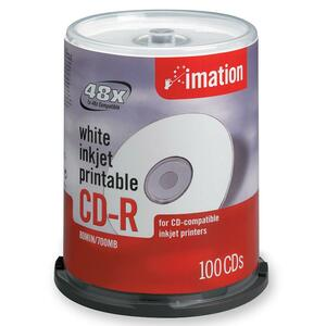 Imation CD Recordable Media - CD-R - 52x - 700 MB - 100 Pack Spindle IMN17334