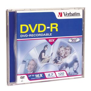 Verbatim DVD-R 4.7GB 16X with Branded Surface - 1pk Jewel Case