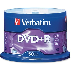 Verbatim 95037 DVD Recordable Media - DVD+R - 16x - 4.70 GB - 50 Pack Spindle VER95037