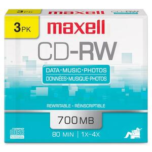 Maxell CD Rewritable Media - CD-RW - 4x - 650 MB - 3 Pack MAX630030