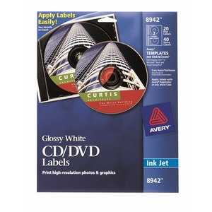 Avery Inkjet Glossy CD/DVD Labels AVE8942