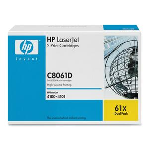 HP 61X (C8061D) 2-pack High Yield Black Original LaserJet Toner Cartridges HEWC8061D