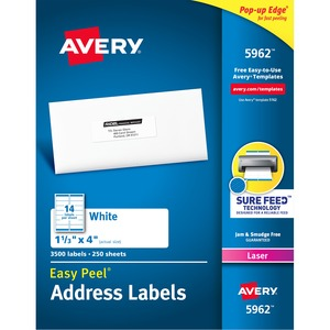 Avery Easy Peel White Mailing Labels AVE5962