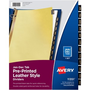 Avery Monthly Gold Line Black Leather Tab Divider AVE11351