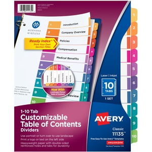 Avery Ready Index Table of Contents Reference Divider AVE11135