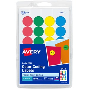 Avery Print or Write Round Color Coding Label AVE05472