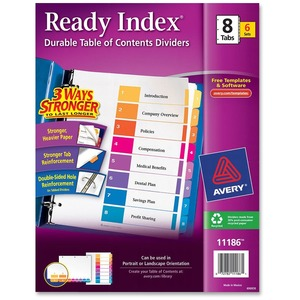 Avery Ready Index Table of Contents Reference Divider AVE11186