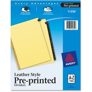 Avery A-Z Gold Line Black Leather Tab Divider AVE11350