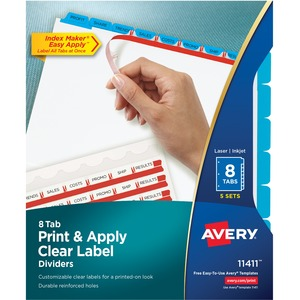 Avery Index Maker Punched Clear Label Tab Divider AVE11411
