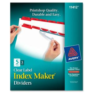 Avery Index Maker Punched Clear Label Tab Divider AVE11412