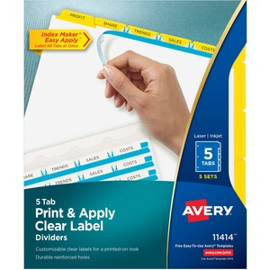 Avery Index Maker Punched Clear Label Tab Divider AVE11414