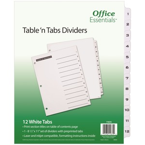 Avery Black-and White Table of Content Tab Dividers AVE11672