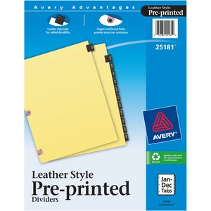 Avery Black Leather Monthly Tab Divider AVE25181