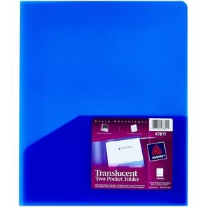 avery translucent two pocket folders servmart