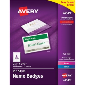 Avery Laser/Inkjet Pin Style Name Badge Kit AVE74549