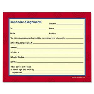Carson-Dellosa Carbonless Important Assignments Booklet CDPCD2321