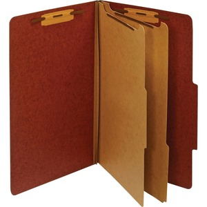 Globe-Weis Legal Classification Folders With Divider GLWPU64RED