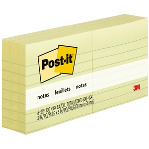 Post-it Ruled Adhesive Note MMM6306PK