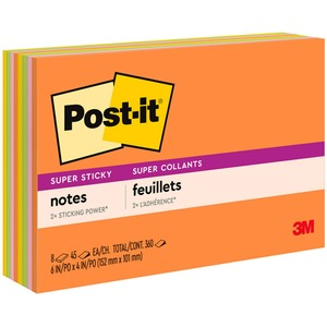 Post-it Super Sticky Electric Glow Coll. Notes MMM6445SSP