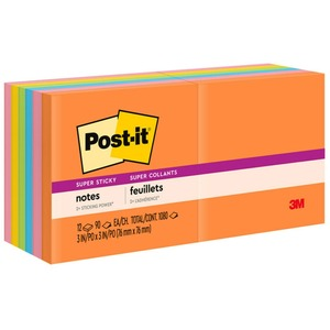 Post-it Super Sticky 3x3 Jewel Pop Coll. Pads MMM65412SSUC