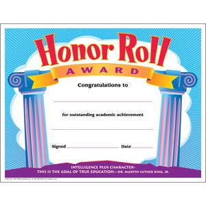 Trend Honor Roll Award Certificate TEPT2959
