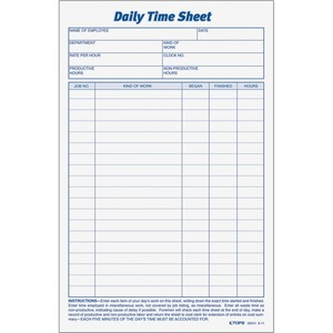 TOPS Daily Time Sheet Form TOP30041