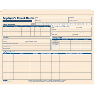 TOPS Employee Record Master File Jacket TOP3280