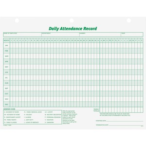 TOPS Daily Attendance Record Form TOP3284