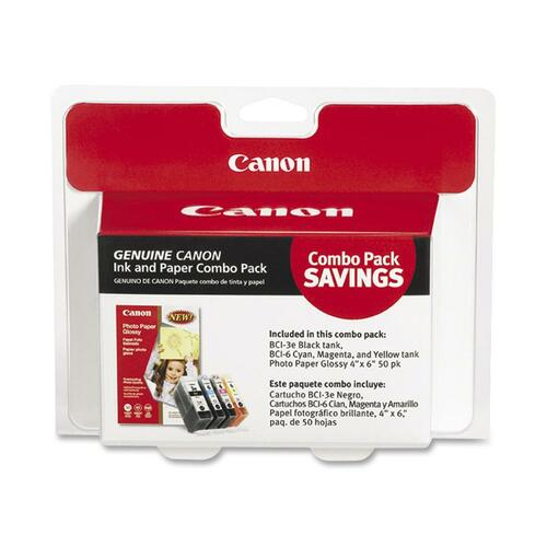 Canon 4479A292 Ink Tank & Photo Paper Combo Pack, 50 Glossy 4 x 6 Sheets CNM4479A292