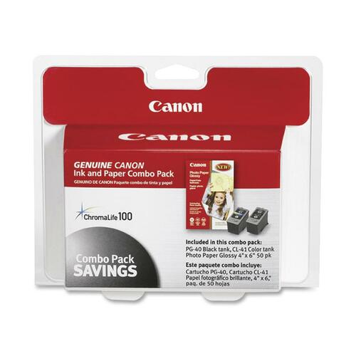 Canon 0615B009 Inks & Paper Pack Combo, PG-40, CL-41, PG-502, 50 Glossy 4 x 6 Sheets CNM0615B009
