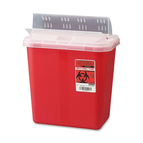 Covidien Cvds2gh100651 Biohazard Sharps Container With Clear Drop Lid, 2 Gallon, Red CVDS2GH100651