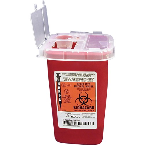 Covidien Cvdsr1q100900 Phlebotomy Sharps Container With Clear Lid, Flip Top,1 Qt,Rd CVDSR1Q100900