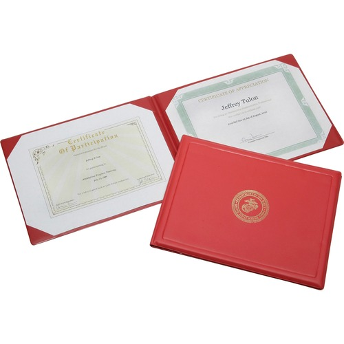 Skilcraft Award Certificate Binder With Gold Marine Crops Seal NSN0561927