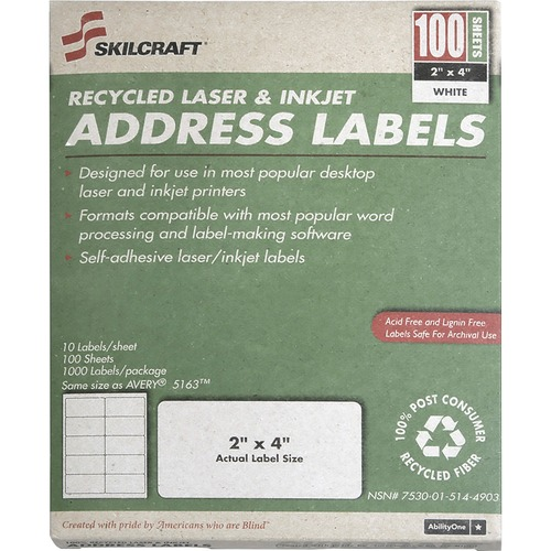 Skilcraft Permanent Laser Address Label NSN5144904