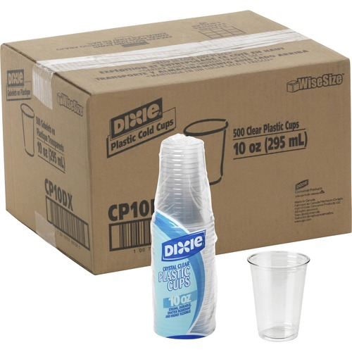 Cold Drink Cups, 10 oz., Clear Plastic (Set of 2) Pack Size: 500 (Carton) DXECP10DXCT
