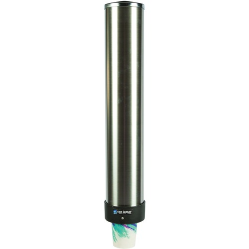 San Jamar Large Water Cup Dispenser w/Removable Cap, Wall Mounted, Stainless Steel SJMC3400P