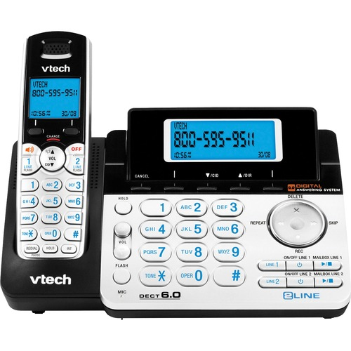 VTech DS6151 DECT 6 0 2-Line Expandable Cordless Phone with Answering System Silver-Black with 1 Handset