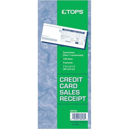 tops credit card sales slip 3 part carbonless 100 stpk