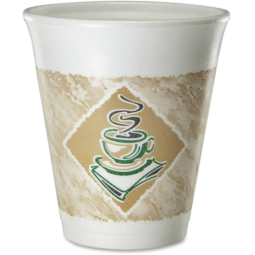 Dart Foam Hot/Cold Cups, 8oz, White w/Brown & Green, 1000/Carton DCC8X8G