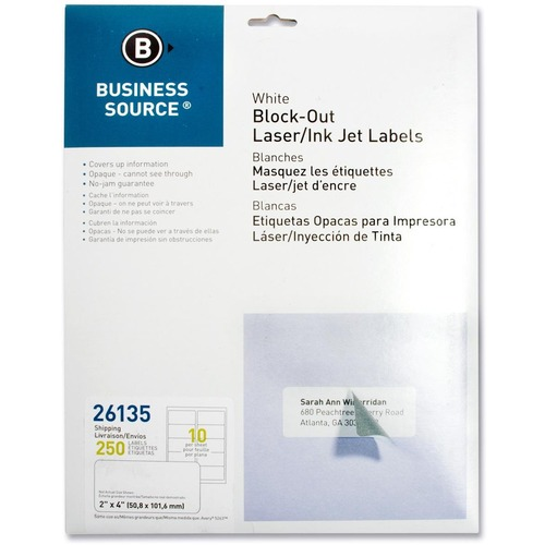 Business Source Block-out Shipping Laser/Inkjet Label