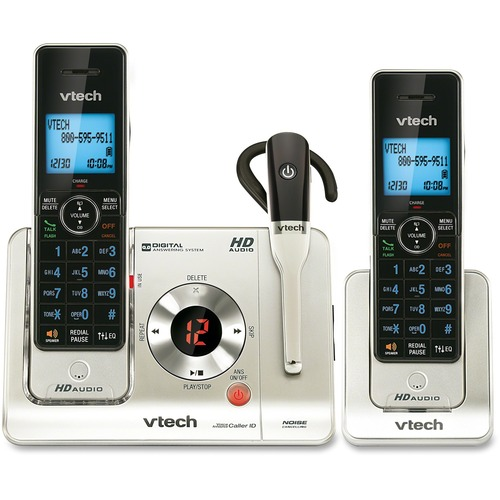 VTech LS6475-3 DECT 6 0 Expandable Cordless Phone with Answering System and DECT Cordless Headset Silver with 2 Handsets and 1 Headset