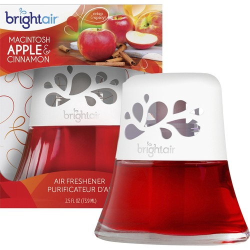 BRIGHT Air Scented Oil Air Freshener, Macintosh Apple & Cinnamon, Red, 2.5oz BRI900022
