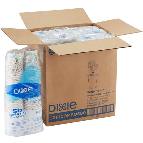 Dixie Combo Bag, Paper Hot Cups, 10oz, 50/Pack DXE5310COMBO600
